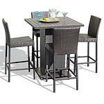 TK Classics NAPA-PUB-WITHBACK-4 5 Piece Napa Pub Table Set with Barstools Outdoor Wicker Patio Furniture For Sale thumbnail