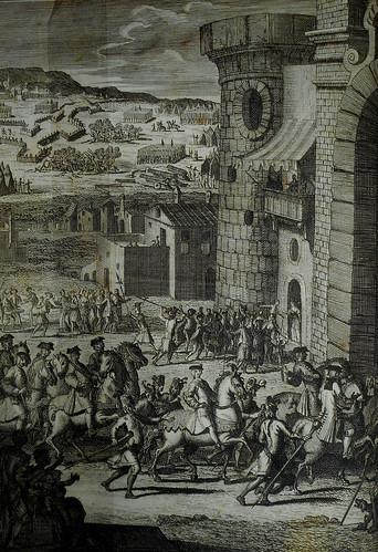 """Book """"Di Carlo di Borbone re di Napoli. Poema eroico"""" by S. Caputo (Naples, Parrino 1734) with etching by Antonio Baldi - Exhibition """"Giambattista Vico si racconta..."""" at National Library of Naples"""