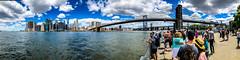 Too much to take in. (brianloganphoto) Tags: skyline northamerica regions newyork panorama brooklynbridge brooklyn blue river newyorkcity water skycraper eastriver unitedstates tourists clouds manhattan us