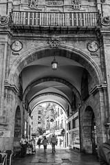 Salamanca, Spain (Marian Pollock) Tags: salamanca spain street europe blackandwhite blackwhite arch architecture sculpture people shadows light plaza terrace dalonsodguzman