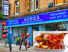 Scotland West Highlands Argyll Oban my yummy cod and chips sitting in at Nories Fish and Chip shop £6 - $8.50c 7 July 2018 by Anne MacKay (Anne MacKay images of interest & wonder) Tags: scotland west highlands argyll oban cod nories fish chip shop food meal people building xs1 7 july 2018 picture by anne mackay