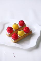 Mango Strawberry Eclairs (Мiuda) Tags: eclair eclairs choux chouxpastry pastry pastries patisserie patissier sweet sweetfood food dessert delicious sugar mousse cream whipped whippingcream cremeux glaze red yellow mango strawberry berry berries fruit white professional foodphotography foodphoto mycryo recipe foodblog foodblogger blog blogger bake bakery baked baking canon macro closeup luxury gourmet filling chocolate
