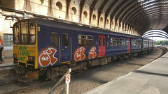 Ex GWR 150120 at York with recent graffiti again in memorium to the 3 killed at Loughborough Junction. K-bag, Trip and Lover (exiledcumbrian) Tags: kbag trip lover 150120 yorkstation