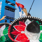 Mexican soccer fans with colorful sombreros thumbnail