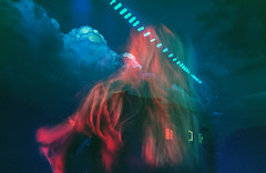 (Coughh_Syrup) Tags: girl blonde hair night clouds sky double exposure blue red blur neon