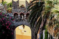 Arco di Via dell'Educandato (danilocolombo69) Tags: arco sestrilevante cittadella palme oleandri danilocolombo69 danilocolombo nikonclubit bayofsilence bayofthefairies architettura mura lampada edifici strada eu