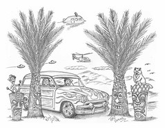 Tiki Beaver (rod1691) Tags: myart art sketchbook bw scfi grey concept custom car retro space hotrod drawing pencil h2 hb original story fantasy funny tale automotive illustration greyscale moonpies sketch sexy voodoo
