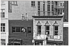 Two cameramen on a roof (Rex Block) Tags: cameramen roof pride dc parade crowd outdoors street buildings bricks monochrome bw