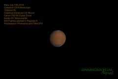 Mars G1 July 13th 2018 (OPMmmGroup) Tags: sun moon galaxy galaxies telescope reflector refractor newtonian dobsonian eq mount goto celestron vx solar system nebula star stars cluster globular astronomy astroimaging astrophotography planets planet deep space mars jupiter saturn mercury neptune pluto uranus canon 70d tiffendfx