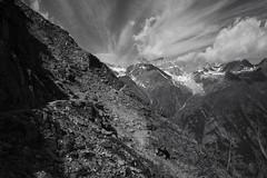 the silence of the Alps (Toni_V) Tags: m2408331 rangefinder digitalrangefinder messsucher leicam leica mp typ240 type240 28mm elmaritm12828asph hiking wanderung randonnée escursione alps alpen bw monochrome blackwhite sep2 silverefexpro2 schwarzweiss wallis valais mattertal trail wanderweg sentiero grächenzermatt europaweg highroute höhenweg switzerland schweiz suisse svizzera svizra europe landscape clouds sky ©toniv 2018 180714