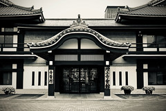 Temple Buildings (NatalieTracy) Tags: tokyo japan zojoji zojojitemple temple blackandwhite