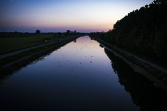 Water (Matt Pi) Tags: prospective dust dusk sunset blue violet water river canal nature train station brescia cremona italy photograph