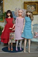 A Trio of Momoko Dollies (Girl Least Likely To) Tags: momoko sekiguchi closeclippedsheep dolls toys asianfashiondolls japanesetoys miniatures dollhouse dollscene diorama dollroom livingroom dresses