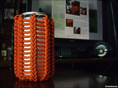 eight year old paracord can koozie (Stormdrane) Tags: paracord can koozie stormdrane verticalhitched knot pouch cozy beverage soda beer orange reflective black cinch cord cordlock blogpost eight 8 yearsold bottle hydrate water icecold condensation chilled freezing utility useful decorative design