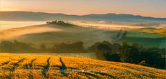 Sunrise in the Tuscany - Italy (~ Floydian ~ ) Tags: henkmeijer photography floydian italy tuscany valdorcia castiglionedorcia cottage house morning dawn sunrise fog mist italian landscapes landscape leefilters stitching canon canon1dsmarkiii canoneos1dsmarkiii