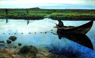 Peterssen, Eilif (1852-1928) - 1889 Salmon Fishermen (Lillehammer Art Museum, Norway)