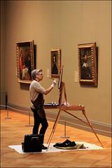 Artist amongst the Art - Metropolitan Museum of Art, NYC (TravelsWithDan) Tags: woman artist painting copying artworks museum art easle metropolitanmuseumofart nyc newyorkcity candid canong3x urban city solitary ngc