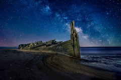RS the wreck at night.-2ex70918 (P.E.T. shots) Tags: shipwreck milkyway sky stars astro lightpaint composite