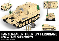 Ferdinand tank destroyer (Yitzy Kasowitz) Tags: ferdi ferdinand elefant german germany ww2 tank tankdestroyer brickmania brickarms spg wot worldoftanks lego art toy war scale model tiger tigerp panzerjager barrel gun 88 cannon camo camouflage stickers