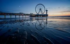 Dutch blues (reinaroundtheglobe) Tags: pier beachpier beach scheveningen nederland holland thenetherlands bluehour dawn lowangleview pattern repeatingpattern reflections ferriswheel moon sunset landsc tranquility