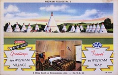 """Greetings from Wigwam Village"" 4 Mi. So. of Birmingham, Ala. -- On U.S. 11.  Advertising Postcard 1B H2317, from Curteich-Chicago (1940s) (lhboudreau) Tags: postcard postcards colorphoto outdoor outdoors vintagepostcard attraction roadsideattraction us11 usroute11 roadsideamerica route11 tepees teepee tipi tipis wigwam wigwams wigwamvillage wigwammotel motel alabama indian nativeamerican americanindian theme themed 1940 1940s curteich curteichchicago advertising vintageadvertising wigwamway postcard1bh2317 motorcourt motorcourts wigwamvillageno5 bed chair furniture hickoryfurniture greetings"