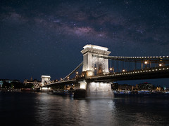 Under the Stars (Blueocean64) Tags: hungary budapest bridge pont architecture perspective night nuit ciel sky milkyway water eau river longexposure extérieur outdoor light spring samyang 12mm panasonic g5 美丽 艺术 摄影 旅游 景观 天空
