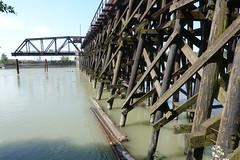 Railway trestle bridge with the swing bridge open (D70) Tags: northarm fraserriver burnaby britishcolumbia canada railway trestle bridge with swing open sony dscrx100m5 ƒ56 88mm 1200 125