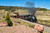Los Pinos, CO (Wheelnrail) Tags: ct cumbres toltec train trains steam 282 locomotive railroad rail road narrow gauge railway ctsrr cresco colorado co water tower tank wooden bridge passenger excursion tourist pine trees 484 tree sky people photo forest car grass wood mountain