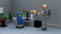 Stop! That's my pet! Not a computer bug! (Swijak) Tags: lego office computer bug desk benny space robot