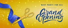 Grand opening, best party for all festive banner design (muteebali65) Tags: big grand ceremony opening party best yellow background handwritten inscription lettering banner card certificate concept coupon design flat flyer horizontal illustration icon isolated poster sign symbol template text vector web announcement advertising business event sale shop store promotion celebration congratulation festive holiday invitation soon ribbon scissors cutting blue gold shining