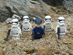Near the sand and by the rocks. (Working hard for high quality.) Tags: lego star wars minifigures first order dark side sand beach rock tan pebble toy officer stormtrooper