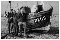 Leon, Peter and Rod (AEChown) Tags: fishermen fishermensmuseum hastings rx118 fishingboat beach boat monochrome mono blackandwhite