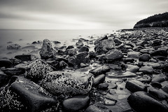 a rocky start (Port View) Tags: fujixe2 canadacreek murraybrook novascotia ns canada cans2s coast shore beach rock rocks rocky tide tidal fundy fundyshore bayoffundy blackandwhite bw longexposure le shoreline water sky landscape seascape