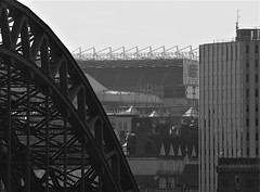 Newcastle Landmarks From Gateshead - B&W (Gilli8888) Tags: olympus e450 northeast tyneandwear northtyneside gateshead newcastle newcastleupontyne bridge tynebridge windows calecrosshouse calecross stjamespark angles geometry geometric rooftops skyline footballground newcastleunitedfc blackandwhite