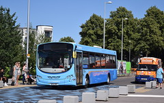 Crossing over the blue jagged markings.....2145 (paulburr73) Tags: 2145 nxc coventry volvo b7rle wrightbus wright eclipseurban parkroad railwaystation june summer warmandsunny 2018 singledeck bus crossing nationalexpress bx12 dhv