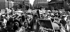 Families Belong Together Protest (Alexander H.M. Cascone [insta @cascones]) Tags: usa nyc new york city manhattan downtown financial district fidi protest rally march keepfamiliestogether standup social justice brooklyn bridge activism citizens crowd signs america rights freespeech foley square black white blackandwhite bw courts court houses