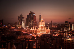 Late night, city lights (sрirit) Tags: moscow city russia ukraine hotel mibc horizon sunset night
