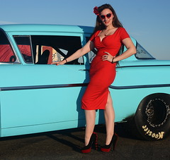 Holly_9228 (Fast an' Bulbous) Tags: classic american car vehicle automobile chevy chevrolet people outdoor santa pod girl woman hot sexy chick babe pinup model red wiggle dress high heels stockings long brunette hair