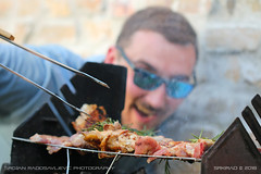 Barbecue surprise (srkirad) Tags: food barbecue grill celebration party friend face portrait smile bokeh blur dof depthoffield smoke background laborday
