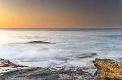 Sunrise Seascape (Merrillie) Tags: daybreak sunrise nature dawn centralcoast morning northpearlbeach sea newsouthwales rocks pearlbeach nsw sky rocky ocean earlymorning landscape australia coastal waterscape outdoors seascape waves coast water seaside
