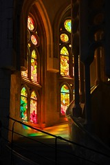 Radiant stairs (Adam Wang) Tags: lasagradafamilia colorful stained glass church antonigaudí barcelona spain travel trip