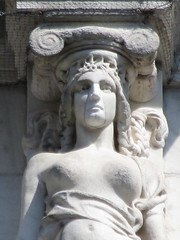Mysterious Woman Dame Summer Caryatid NYC 5411 (Brechtbug) Tags: mysterious woman dame summer caryatid stone ladies courthouse roof statues across from madison square park new york city atlantid 2018 nyc 07152018 art architecture gargoyle gargoyles statue sculpture sculptures facade figures column columns court house law government building lady women figure form far east buildings season seasons fall