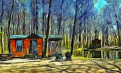 Cabin in the Woods Painting (FotoGuy 49057) Tags: cabin trees pond chairs