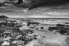 Sunset in Monochrome (andybam1955) Tags: monochrome tide landscape sunset clouds beach coastal westrunton sky northnorfolk eveninglight evening norfolk sea