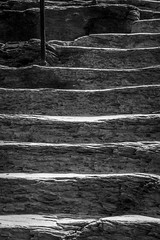 Backlit steps (FotoFloridian) Tags: monochrome nature outdoors backgrounds footpath blackandwhite nopeople staircase old steps pattern fence architecture rough textured abstract harpersferry appalachiantrail