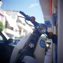 Rolleicord IIc. Kodak Ektachrome E100VS (benjamindillon) Tags: honda c90 c70 c50 cub motorcycle motorbike scooter cublife 120 film greece