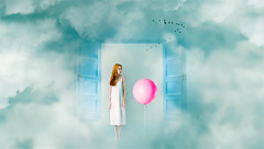 Entrance to fantasy (Ro Cafe) Tags: photomanipulation photoshop ps conceptual surrealism naive fantasy door girl balloon clouds sky pastelcolours blue aqua turquoise pink beautiful colorful