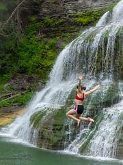 Refresh! (maureen.elliott) Tags: waterfall jumping refreshing water action swimmer newyorkstateparks fingerlakes roberthtremanstatepark summertime