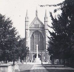 Winchester Cathedral 1956 (Bury Gardener) Tags: bw blackandwhite oldies old snaps scans england uk 1956 1950s britain winchester
