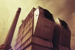 (von8itchfisk) Tags: olympus om10 35mm redscale film filmisnotdead lomography analog analogphotography factory industrial chimney derelict vonbitchfisk ishootfilm architecture